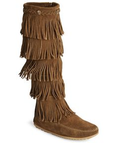 0dcbe0aafe02 Minnetonka fringed suede leather boots Indian Boots, Womens Cowgirl Boots, Fringe  Boots, Native