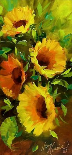 Provence Breezes Sunflower Garden, 24X18, oil, one of seven class demonstrations in Lees Summit, Missouri this week. www.nancymedina.com