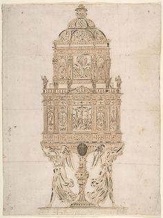 Design for a ciborium, 17th century, Italy.