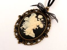 Large Cameo Necklace with fairy in black cream by Schmucktruhe