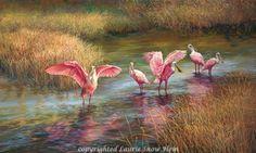 Laurie Snow Hein - Artiste Peintre Contemporaine - Huile - Echassiers Tropicaux