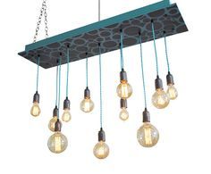 Modern Chandelier - Bare Bulb Edison Lighting, Industrial Chic Chandelier #modernchandelier #midcenturymodernlighting #industrialchandelier #industrialchandelier #turquoiselighting