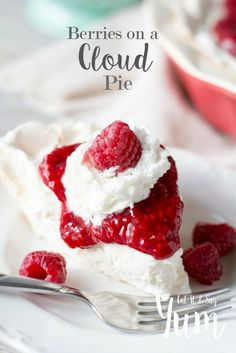 Berries on a Cloud Pie- delicious, creamy pie topped with a fruit sauce