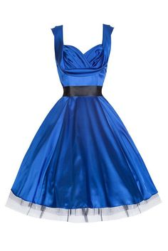 Blue Satin Cocktail Swing Dress