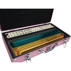 White Swan Mah Jongg, Ivory Tiles, Modern Pusher Arms, Aluminum Case, Pink