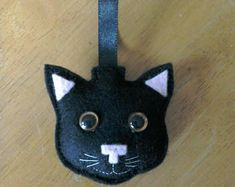 Felt Black cat face Christmas bauble