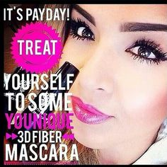 """TGIF. Only one more day to party with Cynthia White. It's pay day! Get your """"Magic"""" Lashes on! Younique 3D Fiber Lashes dramatically enhances and magnifies your own lashes. The 3D Fiber Lashes are water resistant but easy to wash off with facial cleanser. Order yours today at TGIF."""