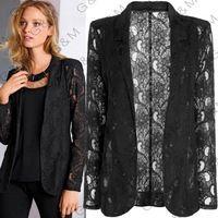 2015 nova mulheres lace blazer feminino outwear casaco preto plus size mulher magro jaqueta de verão estilo sexy blaser mulheres outfit