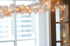 Doily lights. Swoon!  I will try this for fall!
