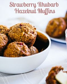 Beautiful and healthy Strawberry Rhubarb Hazelnut Muffins from @ACoupleCooks using whole wheat flour, oat bran, wheat bran and other wholesome ingredients.