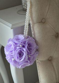 Premium silk LAVENDER flower ball brooch & pearl by KimeeKouture