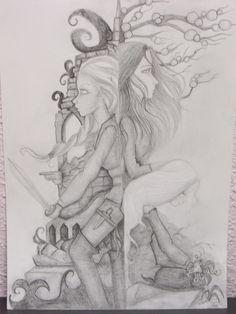 Dyreah, Ravnya y Tarani, de Pilar Esteban.  Imagen seleccionada para la cubierta original de Kylma, tercer y último volumen de la novela de fantasía épica Ojos de Jade, de F. J. Sanz  http://www.fjsanz.com