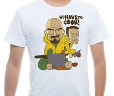 Camiseta Básica na cor Branco - Ilustração Cook Masters por Bernardo Bulcão da Silva