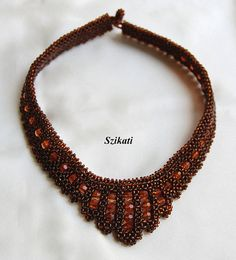 Beadwoven brown necklace Statement beadwork necklace by Szikati