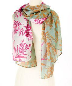 Look at this #zulilyfind! Green& Pink Flourish Floral Scarf by ViVi Designs #zulilyfinds