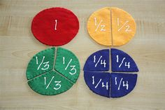 Felt Fractions. Awesome idea. Can be used on a felt board or individually and using different shapes.