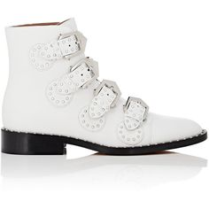 Givenchy Women's Elegant Studded Leather Ankle Boots (4.535 BRL) ❤ liked on Polyvore featuring shoes, boots, ankle booties, ankle boots, white, stacked heel booties, white ankle boots, white boots, low heel booties and low-heel boots