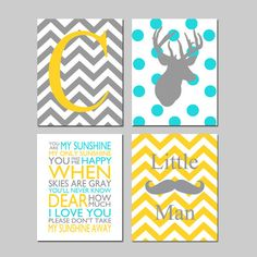 Baby Boy Nursery Art  Deer Nursery Prints  Kids Wall by Tessyla, $65.00