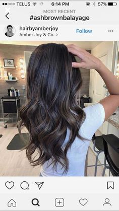 Long Wavy Ash-Brown Balayage - 20 Light Brown Hair Color Ideas for Your New Look - The Trending Hairstyle Hair Color And Cut, Brown Hair Colors, Hair Color Balayage, Ombre Hair, Ash Balayage, Black Balayage, Bayalage, Black Hair With Grey Highlights, Dark Brown Hair With Highlights Balayage