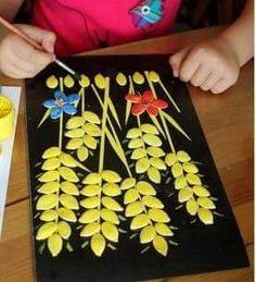 Preschool and Homeschool Pumpkin Seed Crafts, Creative Pumpkins, Preschool Crafts, Pagan, Christmas Crafts, Triangle, Seeds, Homeschool, Teaching