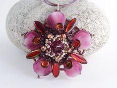 Amethyst Pink & Red Beaded Flower Pendant  by BeauBellaJewellery #jewelry #flower #necklace #rhododendron #beads #purple #pink #red #etsy #handmade #beaubella