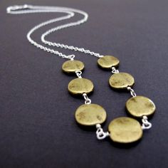 Brass Coin Necklace Sterling Silver Necklace, Geometric Brass and Silver Necklace,