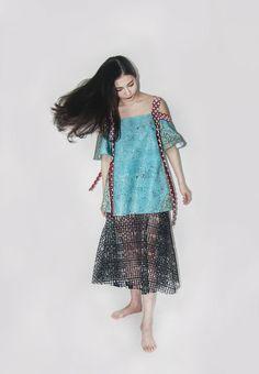 laser cut skirt, digital print top