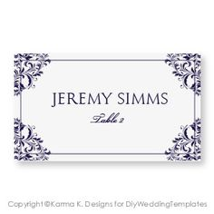 Wedding Place Card Template  DOWNLOAD by DiyWeddingTemplates, $8.00
