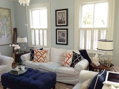 nautical living room   Living Room, Here is my Blue and White nautical inspired living room ...