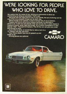 Vintage Chevy Camaro Ad - 1976