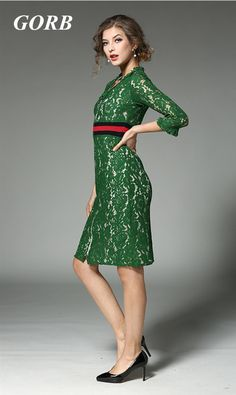 2017 Newest Spring Summer Europe Hot Sales Fashion Women High Quality Costume Catwalk Shows Lace 3/4 Sleeve Green Dress