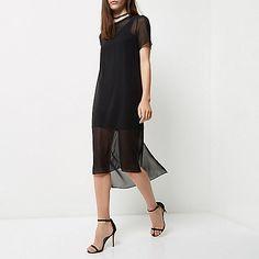 Black mesh T-shirt midi dress - day / t-shirt dresses - dresses - women