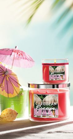 Make an escape at home with Caribbean Escape candles — a tropical blend of melon, raspberry & Italian lemon with creamy coconut & sugar! #BBWPureParadise