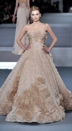 ELIE SAAB Spring 2009 collection   beige strapless gown with bustle and rose embroidery   high fashion