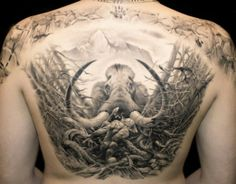 Beautiful black and grey back piece by James Tattoo Art