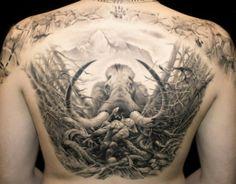Beautiful black and grey back piece by James Tattoo Art #InkedMagazine #tattoo #inked #back #tattoos #ink