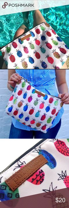 Pura Vida Fruit Punch Clutch 🍍 Brand new, never opened Pura Vida Fruit Punch Clutch. (100% authentic, more than 10 available, I purchased a lot for a project) Absolutely perfect for the summer season, huge, and beautiful! Pura Vida helps empower artisans in Costa Rica by providing full time jobs. Let me know if you have any questions! 🤗 Pura Vida Bags Clutches & Wristlets