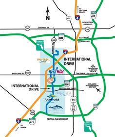 Orlando Maps - Maps of I-Drive - International Drive Resort Area Orlando Map, Miami Orlando, Orlando Travel, Downtown Orlando, Orlando Vacation, Universal Orlando, Universal Studios, Walt Disney World Orlando, Disney World Trip