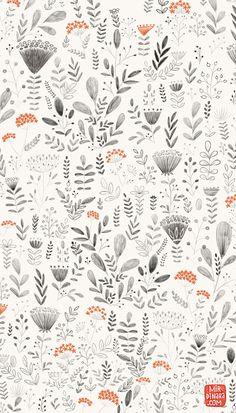 botanical pattern in black and white by Miridinara | http://www.mirdinarakitchen.com