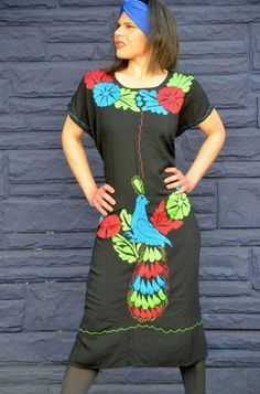 Hand embroidered Huipil from Jalapa de Diaz Oaxaca Mexico   vibrant colors very comfortable to wear.