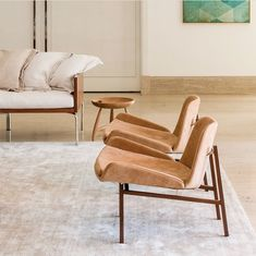 Adriana armchair designed by Jorge Zalszupin, Mocho stool by Sergio Rodrigues and IW sofa by Isay Weinfeld. Available at ESPASSO. Contemporary and midcentury modern Brazilian design.