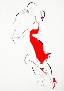 Tango Painting - Red Dress-ii by Lena Leitzke