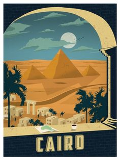 Vintage Poster IdeaStorm Studio Store Vintage Cairo Print - Size - Digital Print on 80 lb cover matte white *SHIPPING DETAILS* Items will be mailed out in tubes within 3 days after order.