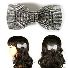 aec4576e283ee Crystal Rhinestone Medium Bow Knot Barrette Hair Jewelry Pin Clip Accessory  Sparkly White Clear Silver Girl Lady Women Lovely Cute Fashion