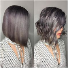 """Straight or Wavy ? Hair by @elissawolfe who says, """"I ❤ classic shapes like razor✔️sharp bobs! Finished with some tousled waves gives it texture and movement"""" ❤️ #hotonbeauty . . . . #lob #bob #bobhaircut #lobhaircut #grayhair #gunmetalgrayhair #metallichair"""