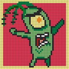 Plankton Perler Bead Pattern | Bead Sprites | Characters Fuse Bead Patterns