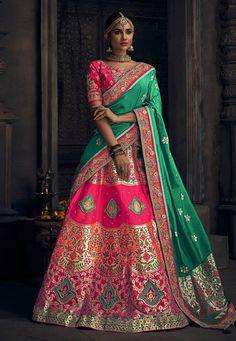 Looking to buy Indian lehenga choli online? Shop latest designer lengha choli online for women. Banarasi Lehenga, Pink Lehenga, Bridal Lehenga Choli, Lehenga Blouse, Sabyasachi Sarees, Silk Dupatta, Indian Wedding Lehenga, Indian Lehenga, Indian Weddings