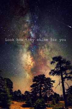 Look at the stars. Look how they shine for you and everything that you do. <3