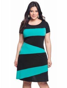 eloquii Colorblock Knit Dress Womens Plus Size