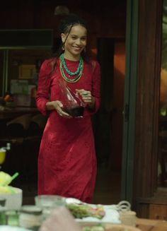 Zoe Kravitz red dress, turquoise necklace HBO's Big Little Lies season 1, episode 6